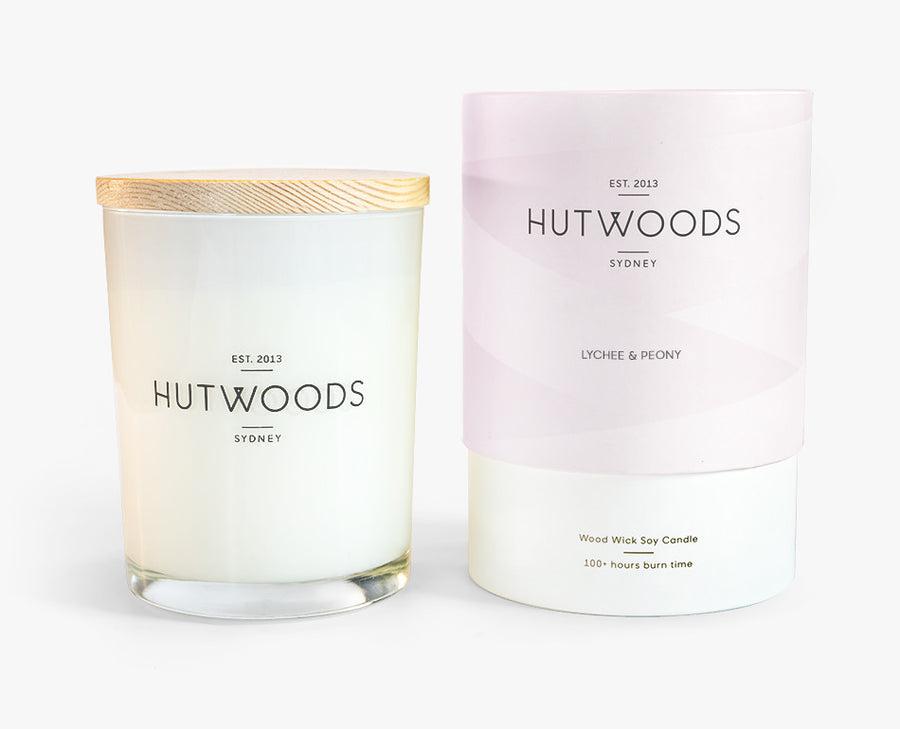 Hutwoods Large Lychee and Peony scented Wood Wick Natural Soy Wax Candle - Burn time 100 hours longer lasting