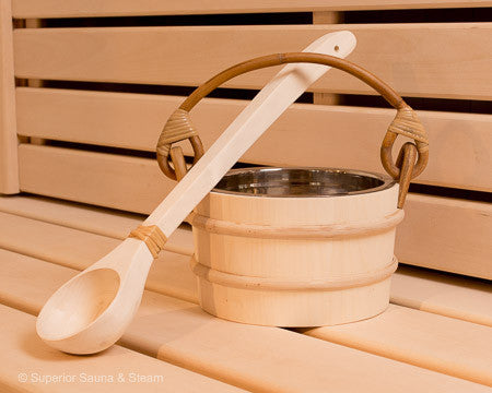 Superior Saunas: Accessory Combo Kit - Aspen 1 Gallon Stainless Bucket and Ladle