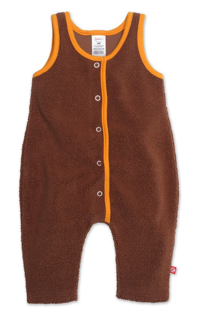 Zutano baby One Piece Cozie Baby Overall - Chocolate