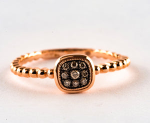 14KT. Rose Gold and Chocolate Diamond Ring