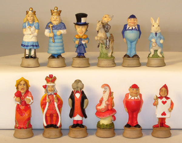 Alice in Wonderland Painted Resin Chessmen