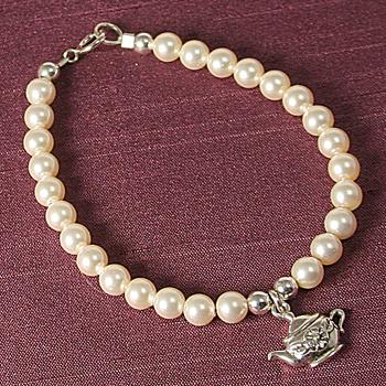 Child's Pearl Bracelet with Sterling Silver Teapot Charm