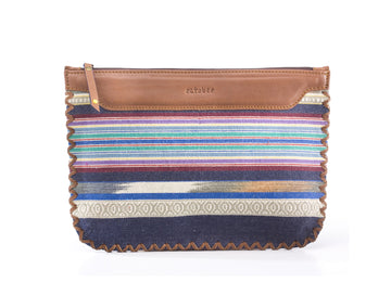 Woven Clutch- Blue White Stripe