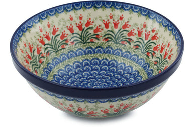 8 cup Serving Bowl - Crimson Bells | Polish Pottery House