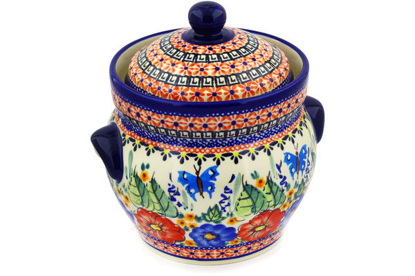 7 cup Canister - Butterfly Garden | Polish Pottery House