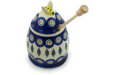 8 oz Honey Jar with Dipper - Peacock | Polish Pottery House