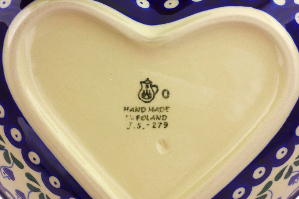 8 cup Heart Bowl - Blue Bell | Polish Pottery House