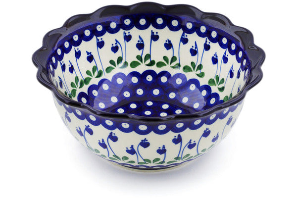 9 cup Scalloped Bowl - Blue Bell | Polish Pottery House