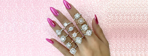 VERRAGIO New Renaissance Collection Engagement Rings on pink background - Birmingham Jewelry