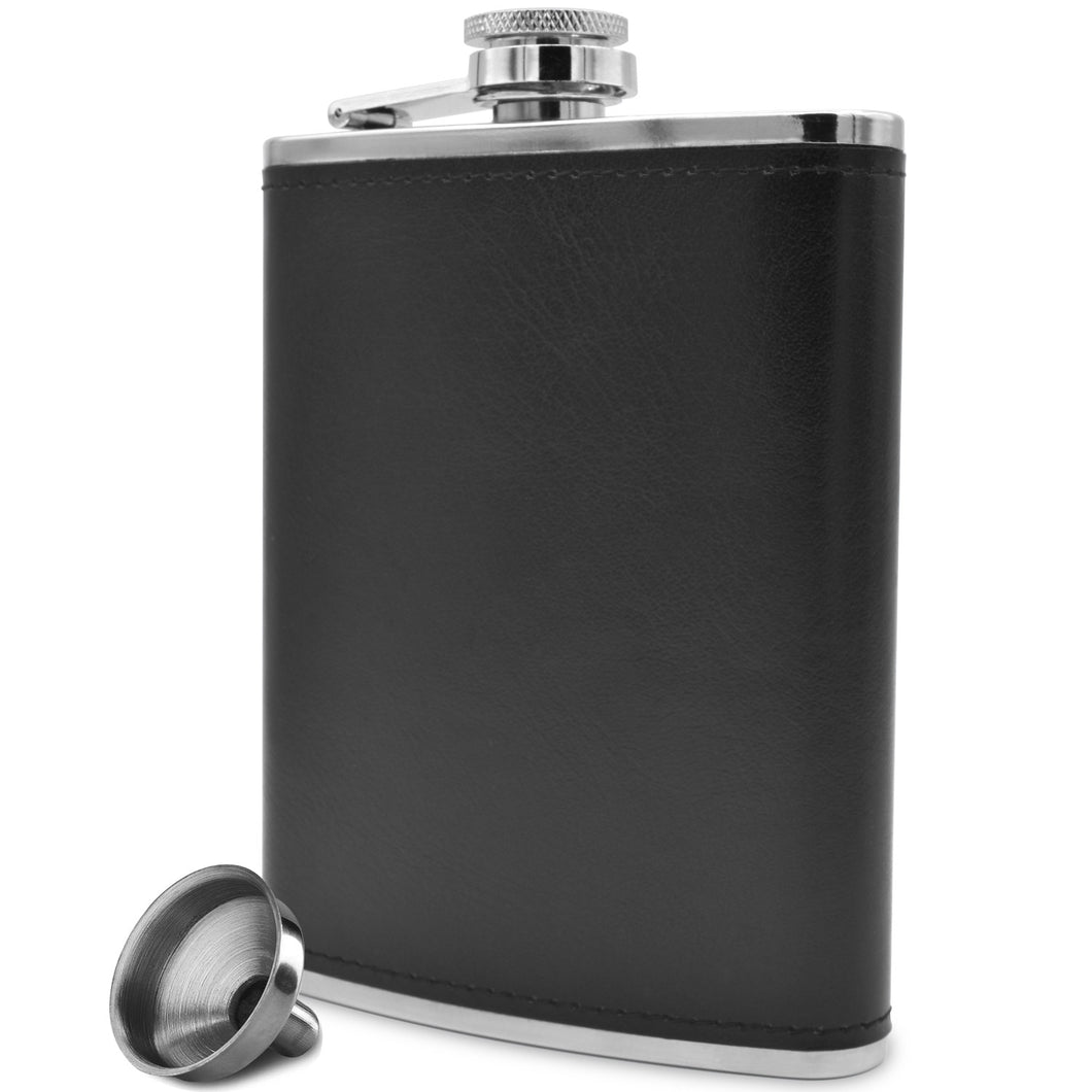 Black Soft Touch Leather Wrap Outdoor Adventure Flask 304 Stainless Steel - Leak Proof - Liquor Hip Flask - Includes Bonus Funnel (8 ounce capacity)