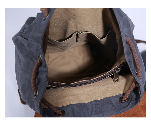 Waxed Canvas Backpack, Diaper backpack, School Backpack, Canvas Leather Laptop backpack JC021 - Leajanebag