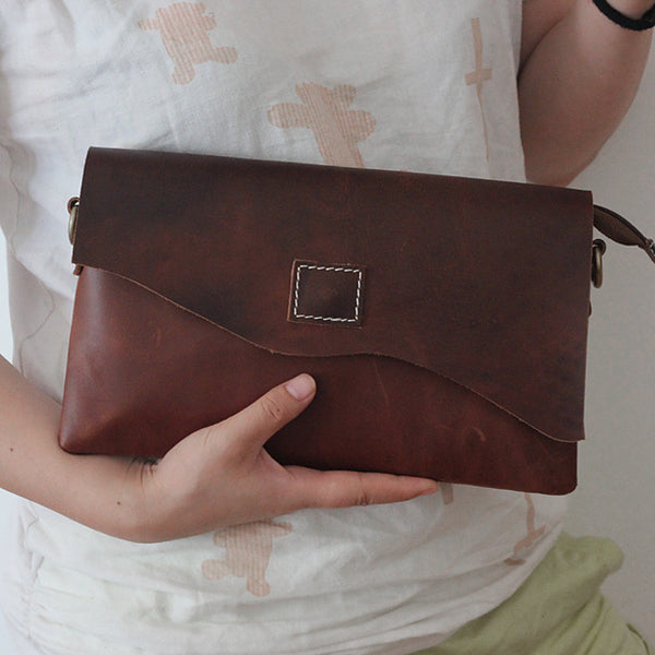Leather Clutch, Leather Evening Bag, Wristlet, Leather Purse, Distressed Brown,Groomsman Gift  GS003 - Leajanebag