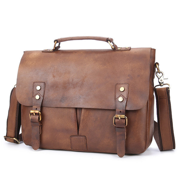 ALMOST PERFECT Men's Leather Bag Briefcase, Gift for Him Full Grain Macbook Bag Laptop Bag Leather CLEARANCE GS012 - Leajanebag