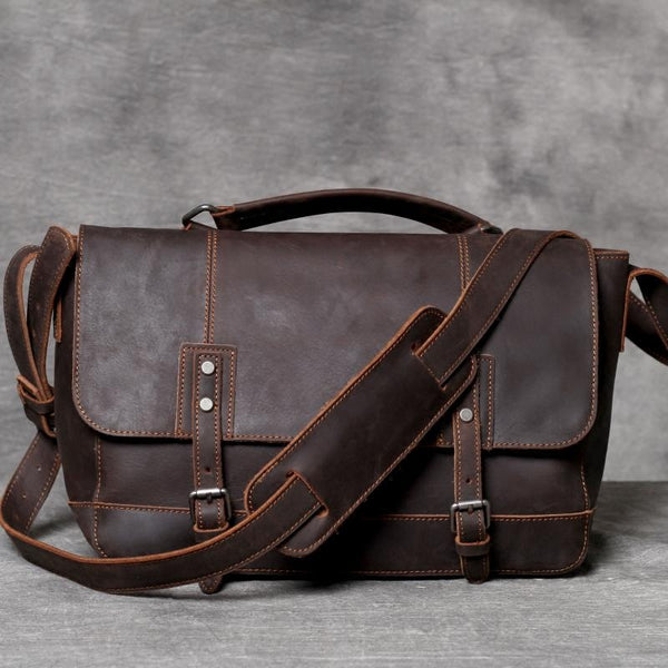 Handmade Dark Brown Messenger Bag, Leather Crossbody Bag OAK070 - Leajanebag