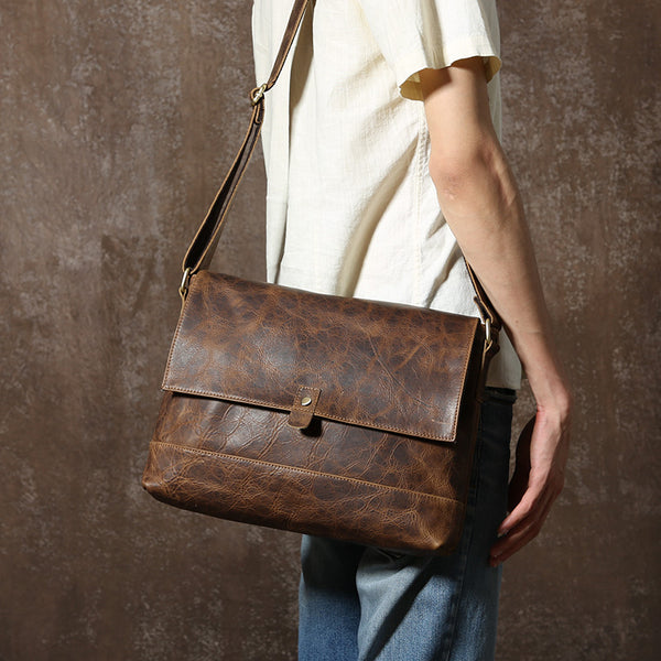 Leather Messenger Bag, Men's Shoulder Bag, Working Bag GLT073 - Leajanebag