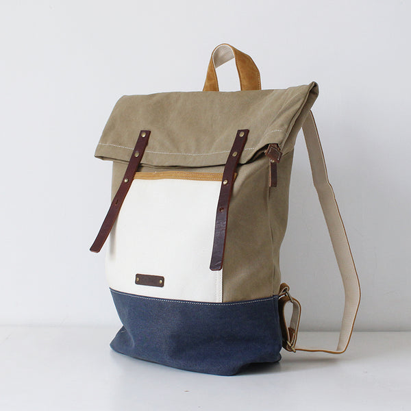 Leather Backpack Waxed Canvas Rucksack Roll up Top, Laptop Bag, Hipster Backpack,College Bag BS001 - Leajanebag