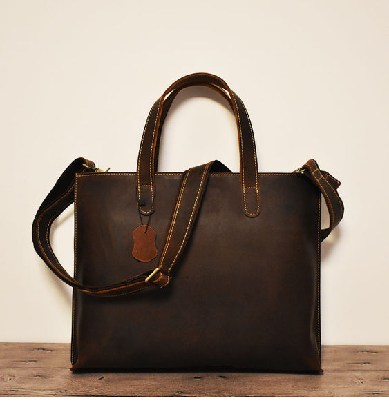 Genuine Leather Briefcase, Leather Business Bag,Shoulder Bag,Handmade Briefcase ZF002 - Leajanebag