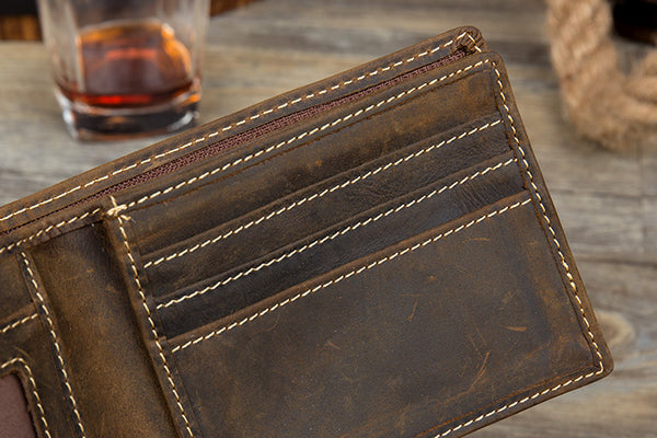 Personalized Bifold Leather,Distressed Leather Wallet, Minimalist Leather Wallet, Unisex Wallet MS170 - Leajanebag