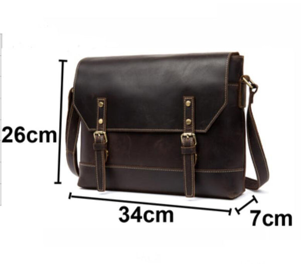 Leather Messenger Bag, Crossbody Leather Laptop Bag, Leather Briefcase MS160 - Leajanebag