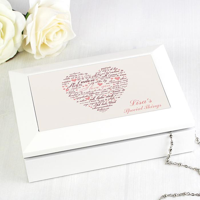 Personalised I Love You White Jewellery Box