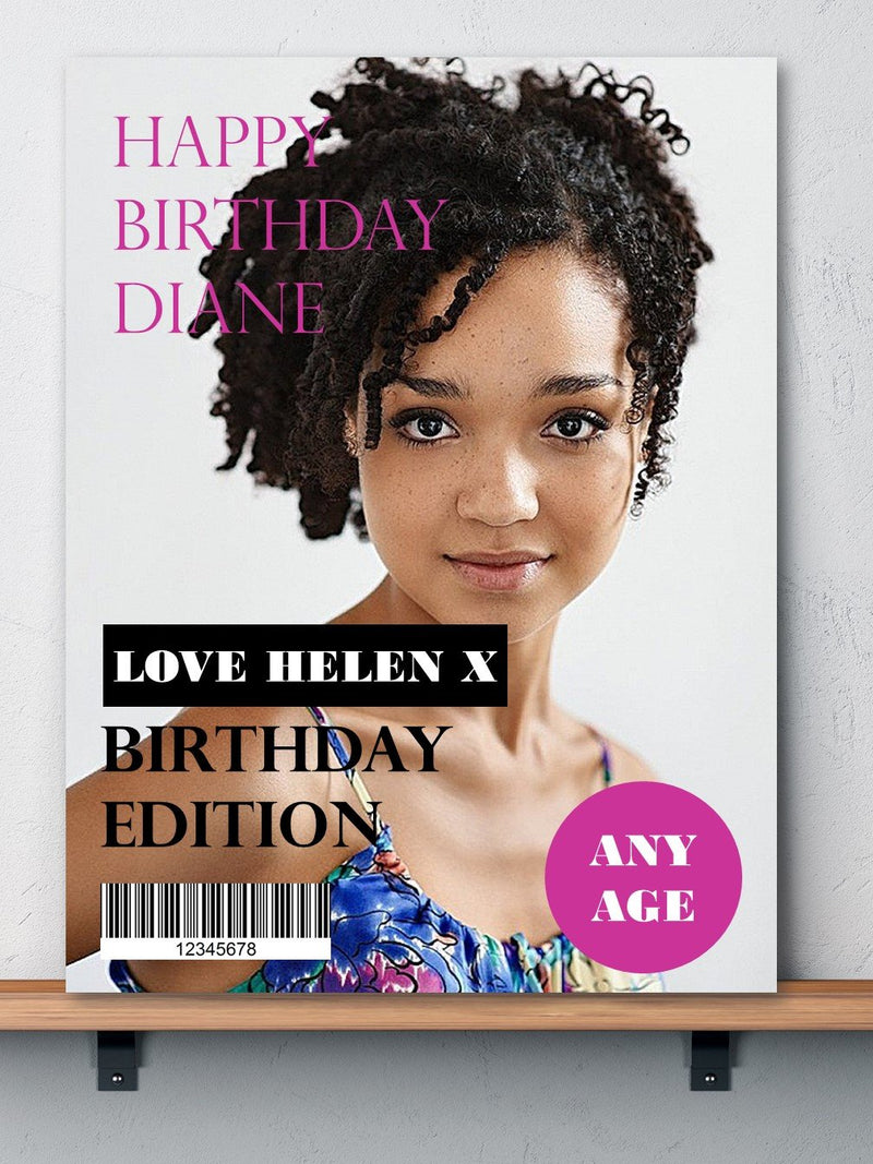 Birthday Magazine Design Photo Card - PureEssenceGreetings