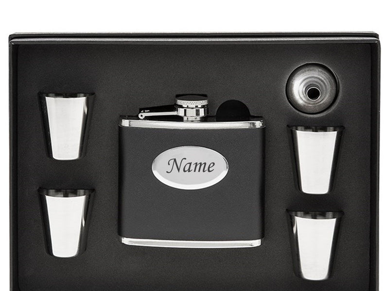 Personalised  Black Hip Flask - Own Text