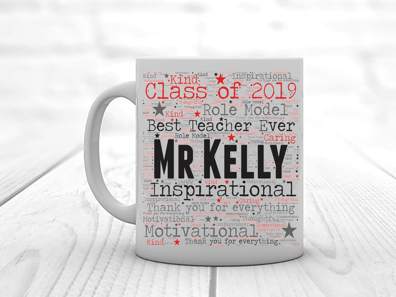 Personalised Teacher Word Art Mug