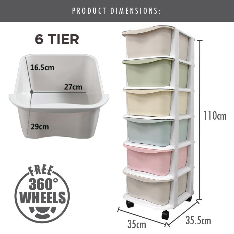 LIFE - 6 Tier 'Apple' Knock Down Cabinet (Macaroon) - HOUZE - The Homeware Superstore