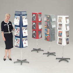 4 Sided Revolving Literature Dispenser in 3 sizes and 4 Colours