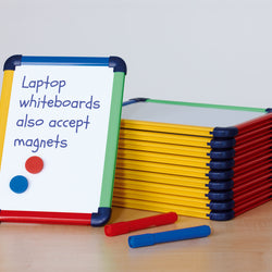 Multi-Colour Framed Reversible and Magnetic Laptop Whiteboard in A4 10 Pack
