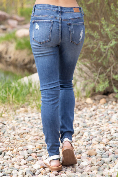 January Judy Blue Mid Rise Lace Peek Boo Detail Skinny Jeans - Filly Flair