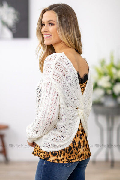 Anything and Everything Long Sleeve Twist Back Knit Sweater in Ivory - Filly Flair