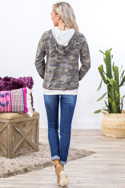 The Way Out Long Sleeve White Trim Hoodie in Camo - Filly Flair