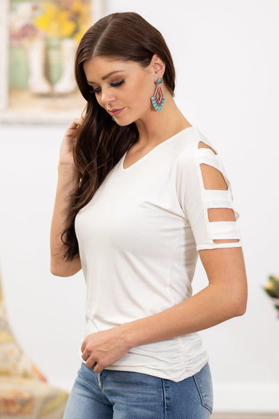 Now or Never Cut Out Cold Shoulder Top White - Filly Flair