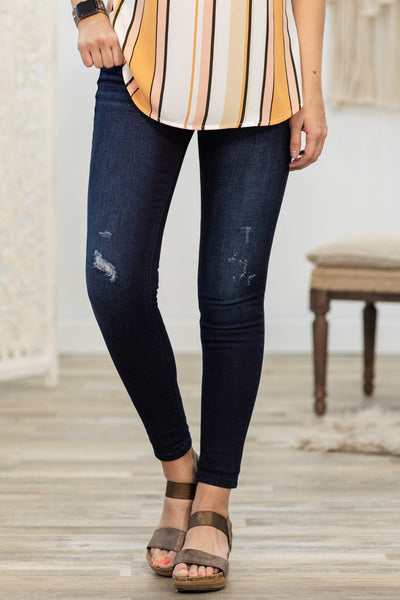 Camila Cello Dark Wash Mid Rise Crop Skinny Jeans - Filly Flair
