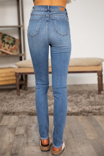 Jacqueline Judy Blue High Rise Four Button Distressed Skinny Jeans - Filly Flair