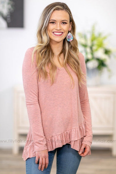 Takes Me Back Long Sleeve Ruffled Hem Top in Heathered Dusty Rose - Filly Flair