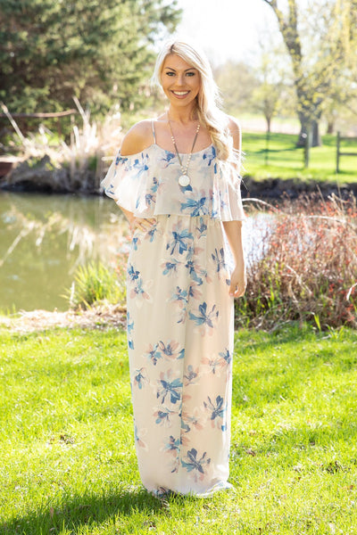 Make Your Move Spaghetti Strap Floral Ruffle Maxi Dress in Taupe - Filly Flair