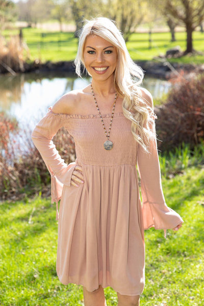 Heart Had A Heart Off The Shoulder Smocked Dress in Mauve - Filly Flair