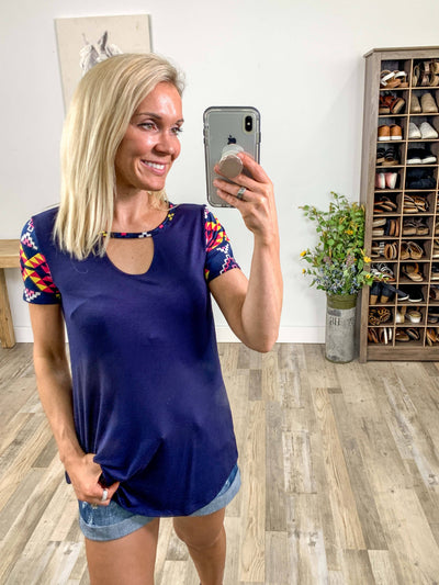 Like The First Time Short Aztec Sleeve Keyhole Neckline Top in Navy - Filly Flair