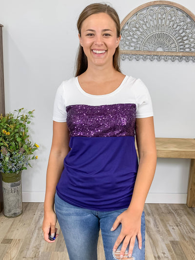 Today is the Day Dazzling Sequined Color Block Short Sleeve Top in White, Purple & Navy - Filly Flair