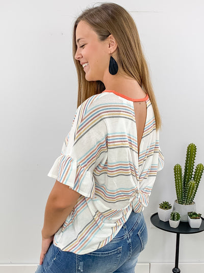 The Final Day Understated Flare Sleeve Multi Colored Striped Tee Shirt in White - Filly Flair