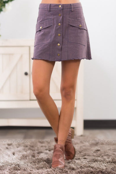 Rock The Boat Button Down Skirt In Stone Washed Purple - Filly Flair