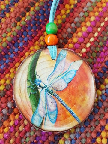 Decorative Wood Totem Pendant - Dragonfly