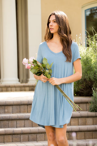 V-Neck Swing Dress - Chambray