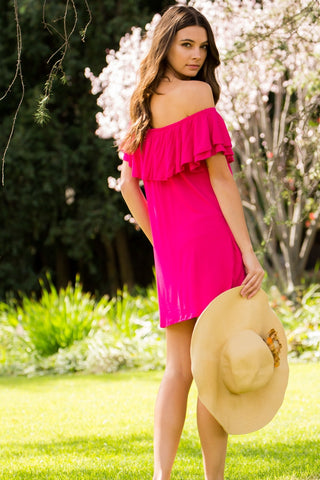Double Layered Ruffled Dress - Fuchsia