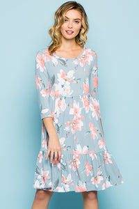 Floral Babydoll Dress - Blue