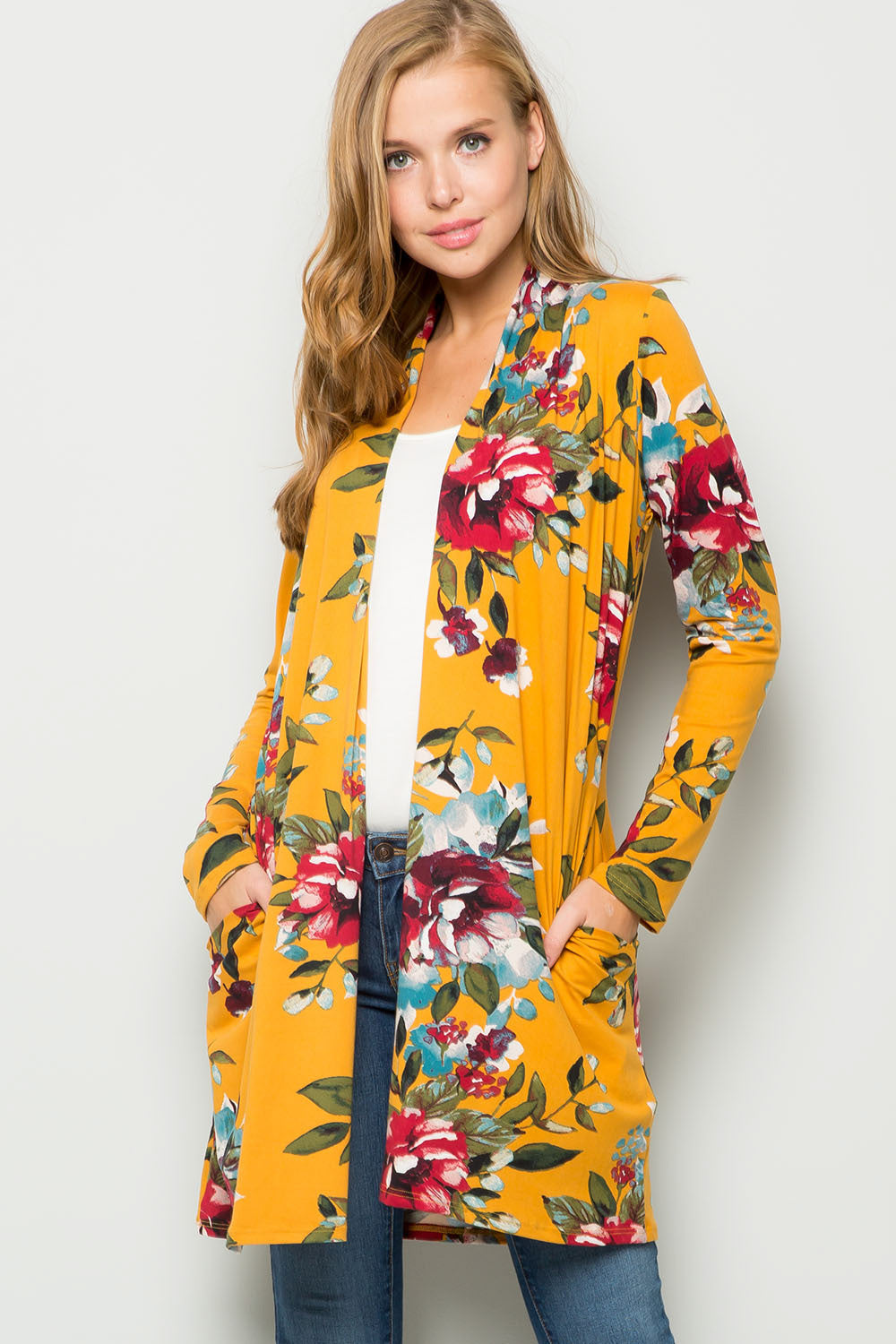 Floral Open-front Cardigan - Mustard