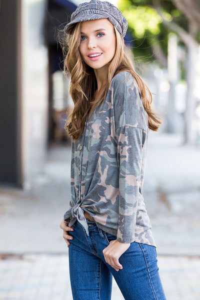 Camouflage Tied-Hem Top