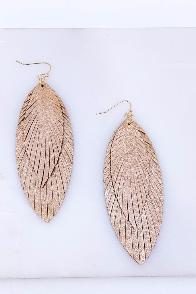 'Vivian' Fringed Shimmer Feather Earrings